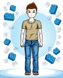 Beautiful happy young teenager boy posing wearing fashionable ca. Sual clothes. Vector beautiful human illustration. Childhood lifestyle clip art Stock Image