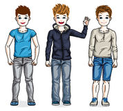 Beautiful happy young teenager boys posing wearing different cas Royalty Free Stock Photo