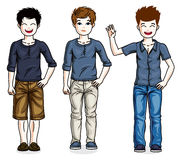 Beautiful happy young teenager boys posing wearing different cas Royalty Free Stock Images