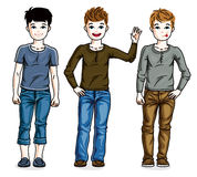 Beautiful happy young teenager boys posing wearing different cas Stock Photography