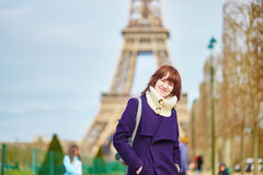 Beautiful happy young tourist in Paris Stock Photography