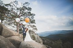 Beautiful happy young wedding couple posing on a background of rock cliff Royalty Free Stock Image