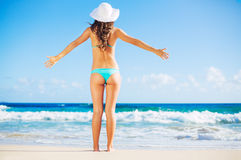 Beautiful Happy Young Woman on the Beach Stock Image
