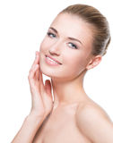 Beautiful happy young woman with clean skin. Stock Images