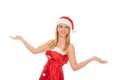 Beautiful happy young woman dressed as Santa. Isolated over a white background Royalty Free Stock Photos