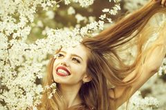 Pretty girl in blossom stock images