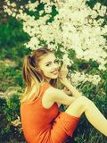 Pretty girl in blossom royalty free stock photo