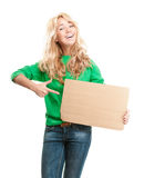 Beautiful happy young woman holding cardboard Stock Photos