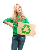 Beautiful happy young woman holding cardboard royalty free stock photography