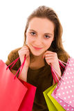 Young woman holding shopping bags. Royalty Free Stock Photos