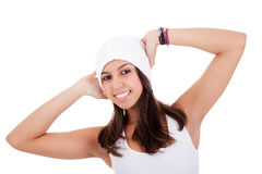 Beautiful and happy young Woman with a hood Royalty Free Stock Photo