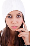 Beautiful and happy young Woman with a hood Stock Photo