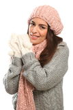 Beautiful Happy Young Woman In Winter Woollies Royalty Free Stock Photos