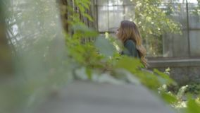 Beautiful happy young woman looking through the window of the old house while standing in the garden. Concept of. Beautiful young woman looking through the stock footage