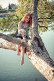 Beautiful happy young woman in the park Stock Photography