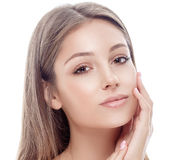 Beautiful happy young woman portrait face with sexy lips Royalty Free Stock Photo