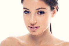 Beautiful  happy young woman portrait face Stock Photos