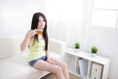 Beautiful happy young woman sitting with hot tea Stock Image