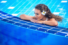 Beautiful happy young woman in swimming pool. Close up portrait of a beautiful happy young woman in swimming pool Stock Photography