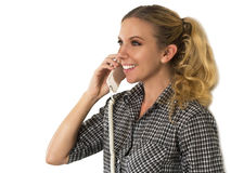 Beautiful, Happy Young Woman Talking on the Phone and Smiling Stock Image