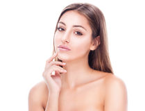 Beautiful happy young woman tanned portrait face with sexy lips Royalty Free Stock Photos