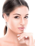 Beautiful happy young woman tanned portrait face with sexy lips Royalty Free Stock Image