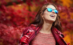 Beautiful happy young woman walking Stock Photos