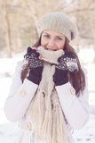 Beautiful Happy Young Woman Wintertime Stock Photography