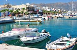 Beautiful harbor of a Greek town. Mandraki (Nisyros island, Dodecanese, Greece Royalty Free Stock Images