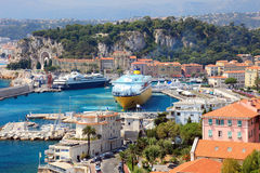 France Nice harbour harbor port view french riviera cote dazur cruise ships ferry Mediterranean sea cruiser ocean liner vacation. The beautiful harbor of Nice Royalty Free Stock Images