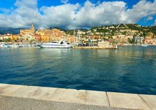 Beautiful harbor and old city panorama,Menton,Provence,France Royalty Free Stock Photos