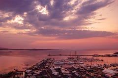 Beautiful harbor at sunset Royalty Free Stock Photos