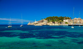 Beautiful harbour with lighthouse and yachts Stock Images