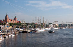 Beautiful harbour in Szczecin Stock Photography
