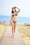 The beautiful harmonous gir on seacoa. The beautiful harmonous girl in a striped bathing suit on seacoast on a wooden path Royalty Free Stock Image