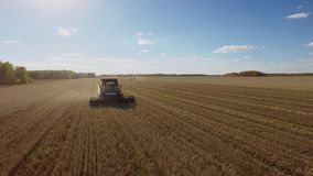 Beautiful harvest aerial view with harvester combine on wheat field