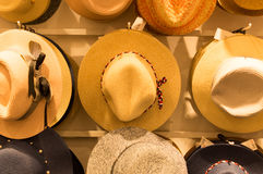 Beautiful hat. Beautiful different color hat in department store Stock Images