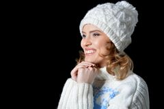 beautiful hat wearing woman Στοκ Φωτογραφίες