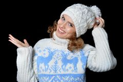 beautiful hat wearing woman Στοκ Εικόνες