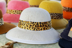 Beautiful hats for ladies. hats color cream hats for sale at market Stock Photography