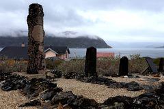 Beautiful haunting Greenland cemetery stock images