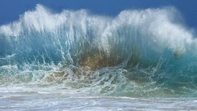 Beautiful hawaiian backwash waveform. Crystal clear ocean wave, exploding into the Royalty Free Stock Photography