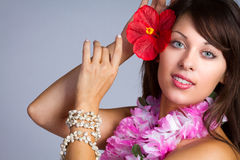 Beautiful Hawaiian Dancer Stock Photos