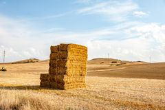 A haystack in the countryside. A beautiful haystack is located in Spain, Navarra. Soon the sunset and sunlight painted everything in yellow royalty free stock image