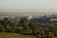 Beautiful HDR landscape panorama of Prague with vysehrad castle taken from Zvahov hill.  royalty free stock photography
