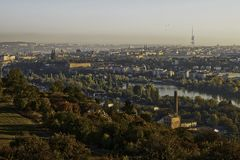 Beautiful HDR landscape panorama of Prague with vysehrad castle taken from Zvahov hill.  stock image