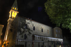 Beautiful HDR night photo of the old city citadel in Budva, Montenegro Royalty Free Stock Image