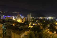 Beautiful HDR night photo of a popular vacation destination, the Budva city Royalty Free Stock Photography