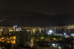 Beautiful HDR night photo of a popular vacation destination, the Budva city Stock Photography