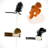 Beautiful headbands and hat with feathers to a ret Stock Photo